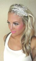 Ivory Pearl Bead Vine Spray Silver Tiara Alice Hair Head Band Bride Bridal