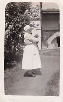 Nurse holding cat photograph vintage black & white early 20th century #2