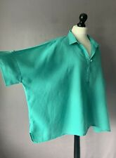 """EAST Gorgeous Linen Oversized Boxy Top in Teal Green Size M but OSFA 70"""" Chest"""