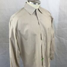 Loro Piana Men's Button Down Dress Shirt Brown Pin Striped Cotton 44-17 1/2