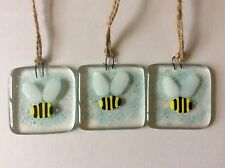 Fused Glass Bumble Bee Small Sun Catcher Tile Hanging Gift