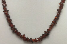 "*Authentic* Natural Garnet Chip Bead Crystal 18"" Necklace #18"
