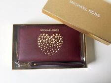 Michael Kors monedero Giftables LG Flat Case piel merlot oro