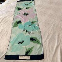 "Pierre Balmain, Paris. Silk Scarf, Navy, white Aqua, light Blue Floral 55x16"""