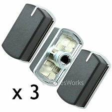 3 x Switch Knob for BELLING 444440165 444449569 Hob Oven Black Silver 083240900
