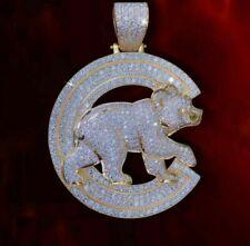 3.50 Ct Round Pendant Jewelry Gift Men's 14k Yellow Gold Finish