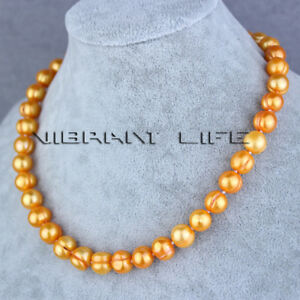 """18"""" 10-12mm Orange Freshwater Pearl Strands Necklace Jewelry UE"""