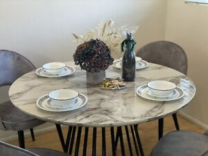 Dining Table | Liverpool Round Dining Table White Marble Look | 110cm