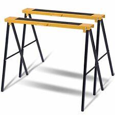 2 Saw Horse Trestle Pair Steel Folding Non Slip Saw Foldable Carpenter Builder