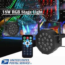 18 Led Rgb Stage Lighting Par Light +4 Remote Dmx512 Party Disco Dj Lights Us