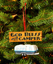 """CAMPER HANGING ORNAMENT ~ """"GOD BLESS OUR CAMPER"""" ~ VERY CUTE~ NEW  ~ GIFT IDEA"""