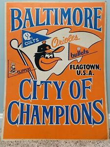 Baltimore Orioles Colts Clippers Bullets 1970 World Series Sign Memorial Stadium