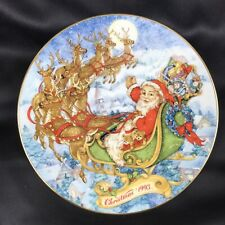 """Christmas Plate Avon 93 Special Christmas Delivery 8"""" Round 22 K Trim Exclusive"""
