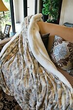 Large Throw Blanket Brown Grey White Ultra Soft Comfort Lynx Faux Fur 5x7' Feet