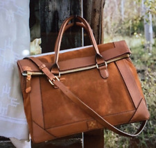 NEW India Hicks Saddle Bag Computer Bag Cognac Leather Suede Briefcase Workwear