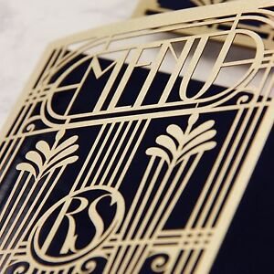 Gold Lasercut Art Deco Great Gatsby Personalized Menu/Order of Service