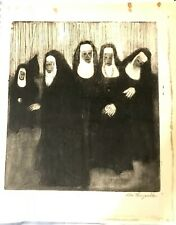 Vintage woodblock print of Nuns Contemporary