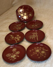 Vintage Japanese Coaster Set Red Lacquerware  Asian Japan Bar Ware Elegant