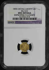 1855 BG-533 CA Fractional Gold Liberty Octagon G$1 NGC UNC Details