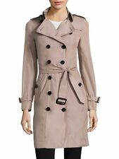 NWT New Authentic 2017 Burberry London Sandringham Polyester Trench Coat Nude 8