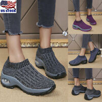 US Women Casual Athletic Sport Sock Shoes Slip On Running Walking Sneakers Shoes