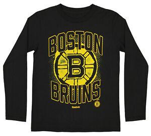 Reebok NHL Boys Youth Boston Bruins Washed Away Long Sleeve Cotton Shirt, Black