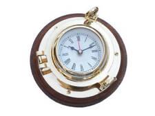 "Brass Porthole Clock 10"" Porthole Clock Coastal Living Collection Beach Lifestyl"