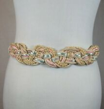 Vintage 80's Women's Pink Braided Rope & Faux Pearl Fashion Stretch Cinch Belt