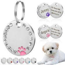 1pc Dog Tag Paw Key Ring Chain Name Collar Necklace Pet Cat ID Metal