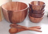 Vintage Wooden Salad Bowl Set Large Pod Serving Bowl, 4 Salad Bowls & Utensils