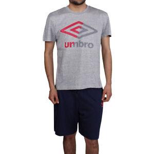 Schlafanzug Herren Umbro Baumwolle Shorts Blau T-Shirt Hälfte Hülse Grau Rot