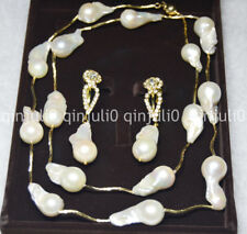 """15-25mm South Sea White Baroque Pearl Necklace Earring 30"""" 14K Box JN581"""
