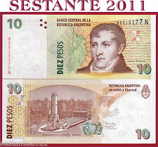 ARGENTINA 10 PESOS 2014 serie N with the same sign of O,  P 354 NEW   FDS / UNC
