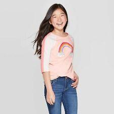 New Girls' 3/4 sleeve Rainbow Print Cat Baseball T-Shirt Cat & Jack Light Peach