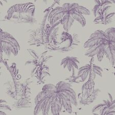 Animal Print Palma Sola Purple Silver Paste the Wall Feature Wallpaper