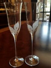 Pair Mikasa Calla Lilies champagne flutes white frosted decal HTF