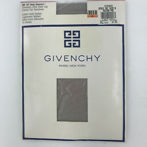 Vintage Givenchy Shimmery Ultra Sheer Control Top Pantyhose Size B Silver Fox