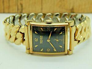 Vintage Black Dial Gruen Gold Filled 435-473 17 jewel art deco watch Serviced