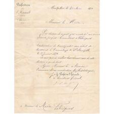 FABREGUES 34 Transfert Débit de Boisson LACOUR à l'Ermitage de St BAUZILLE 1879