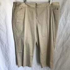 Lane Bryant Size 24 Cropped Crop Pants Tan Khaki Flat Front Pockets No Belt Loop