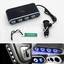 4 WAY 12/24V MULTI SOCKET CAR CIGARETTE LIGHTER SPLITTER DUAL 2 USB PLUG CHARGER