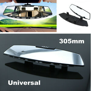 "Universal 12"" Wide Convex Car Truck Interior Clip-on Rear View White Tint Mirror"