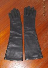 Vintage Black Lined Long Leather Gloves Sz 6 ~