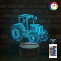 Tractor 3D Illusion Lamp 16 Colors Change Decor Sleeping Night Light for Kids