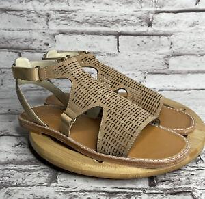Bettye Muller Kurt Size 6 Womens Sandals Tan Leather Laser Cut Slingback Flats
