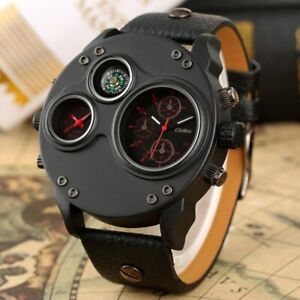 Steampunk Oulm Watches Dual Time Zone Men's Military Quartz Watch Compass Dial