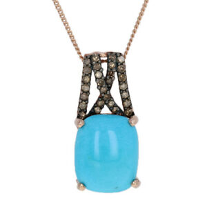 """Silver Turquoise & Diamond Pendant Necklace 20"""" - 925 Rose Gold Plated .25ctw"""