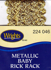 "WRIGHTS GOLD METALLIC (046)  BABY RICK RACK-4 YARDS (1/4"" WIDE) - TRIM"