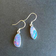 100% Australia Doublet Opal Nice Earrings/Dangler Sliver 925 coated Rhodium 1.7G