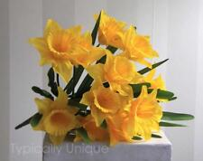 NEW LARGE BRIGHT YELLOW SPRING DAFFODILS BUNCH 14 BLOOMS ARTIFICIAL SILK FLOWERS